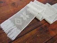 Crocheted rustic beige table runner 109 in, Vintage lace beige dresser scarf