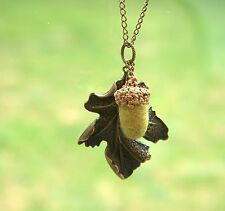 Handmade Acorn oak leaf long necklace olive wool Peter Pan love jewellery gift
