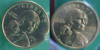 2001 P and D Sacagawea Dollar BU 2 Coins Cellos US Mint Set Native American UNC