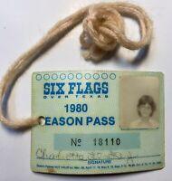 Six Flags Over Texas 1980 Park Season Pass Collectible Souvenir Amusement Park