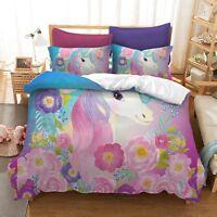 3D Colourful Flowers Unicorn Duvet Cover Bedding Set Quilt Cover Pillowcase Set