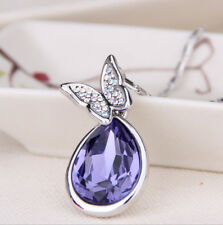 New Style Jewelry purple Crystal unique Butterfly Water Drop Pendant Necklace
