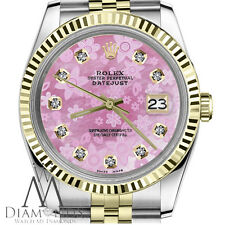 Pink Daisy Rolex 26mm Datejust 18K Gold 2 Tone Mother of Pearl Face with Diamond