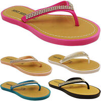 NEW WOMENS LADIES FLAT FLIP FLOPS TOE POST THONG SANDALS DIAMANTE SUMMER SIZE
