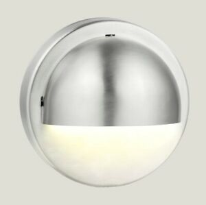 HPM LED Stainless Steel 100mm Round Outdoor Step Wall Light Silver 12V 1W DIY