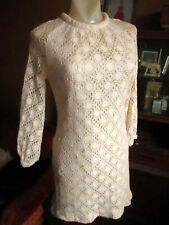 sz 4 True Vtg 70s RELIC TRASHED IVORY HANDMADE LACE DOILY SHIFT DRESS HANDMADE