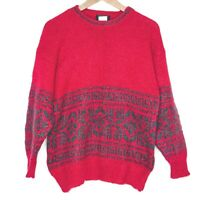 Vintage 90s Fantis Red Geometric Pattern Womens Sweater Jumper
