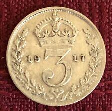 1916 ~ UNITED KINGDOM ~ 3 PENCE ~ KING GEORGE V ~ .925 silver ~ VF30 Condition