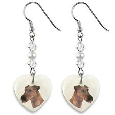 Irish Terrier Dog 925 Sterling Silver Heart Mother Of Pearl Dangle Earrings EP59