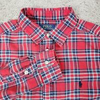 Polo Ralph Lauren Dress Shirt Boys XL 18-20 Red Plaid Long Sleeve Button Down
