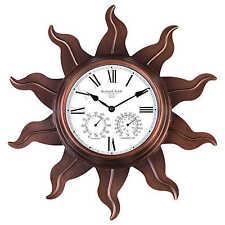 "NEW Outdoor/Indooor Sun Wall Clock Hygrometer Thermometer Metal 24"" Quartz Move"
