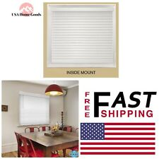White Cordless Premium Faux Wood Blind 19.5 in. W x 48 in. L Inside Mount