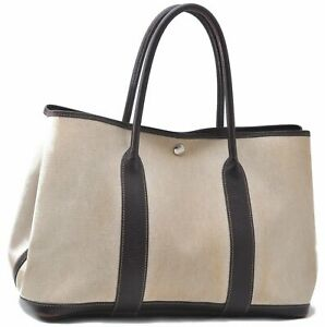 Authentic HERMES Garden Party PM Tote Bag PVC Leather Ivory Brown B1347