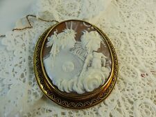 Victorian Antique 15ct Gold Greek Goddess of the Night Nyx Cameo Brooch
