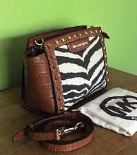 Michael Kors Selma Zebra Print Studded Small Messenger Crossbody Bag