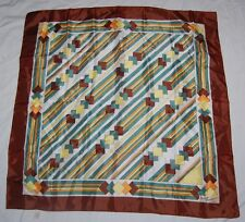 Jacques Rousseau Scarf Brown Teal Yellow Square Striped Water Repellent Japan