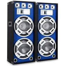 "BLUE LED DJ PA SPEAKERS MUSIC LIGHT EFFECT 3-WAY 2000W PAIR 15""  BASS POWERFUL"