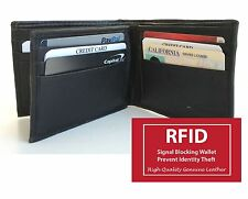 RFID BLOCK LEATHER Center Flap Hipster Big ID 12 Card Men's Bifold Wallet