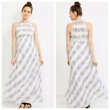 A Pea In The Pad Halter Plaid Maxi White/ Navy Plaid Maternity Dress L