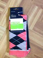 New Shires Argyle Socks Navy Pink Sparkles Women's  Size 3.5 - 8