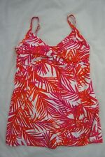Island Escape Swimdress Sz 14 Coral Multi Twist Front One Piece Swimsuit R760595