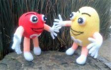 Mr M&M Red and Yellow candy men knitting patterns for a soft toys - stash buster