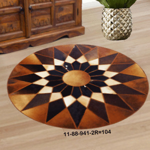 New 100% Cowhide Leather Round Rug Cow Skin Patchwork Area Carpet 1188