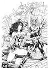 Leo Matos WONDER WOMAN & JANE FOSTER Pinup Original Art - BENES STUDIO