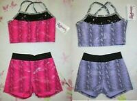 NEW Size 4 XS 6 SC 8 10 M Child Crop Bra Top Shorts Set Dance Gymnastics Leotard