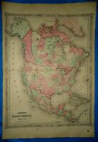 Vintage 1864 Atlas Map ~ NORTH AMERICA ~ Old Antique Authentic ~ Free S&H