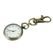 Bronze White Dial Arabic Numerals Key Ring Keychain Pocket Quartz Watch Gift