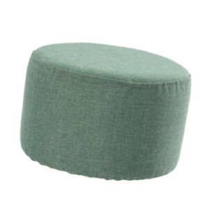 Round Linen Fabric Pouf Footstool Cover Wooden Stool Slipcover,14 Color or