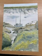 """13.5"""" x 10"""" AMATEUR WATERCOLOUR """"TWO BOATS ON A RIVER"""" PAINTING (P3)"""