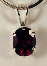 BEENJEWELED GENUINE NATURAL MINED RED GARNET OVAL PENDANT~STERLING SILV~9 X 7MM