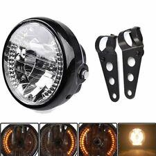 7'' Phare de Vélo Moto Phare LED + 1 Paire Support de Phare Harley / Voiture