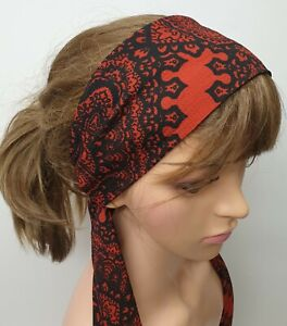 Black and red women head scarf tie back head wear summer head wrap hair scarf