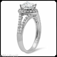 Minie 1.80CT Synthetic Diamond VVS1 Solid 14K White GOLD Engagement Wedding Ring