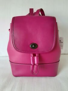 NWT COACH 3334 Originals Collection Small Leather Turnlock Backpack Bag - Cerise