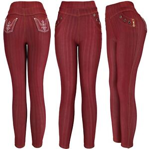 Women's Pull On Stretch Jeggings Pants with Embroidered Pocket