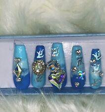 Blue Louis Vuitton Press On Nails