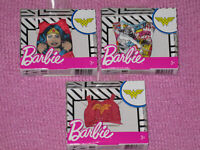3x THREE New in Box Lot of 3 Barbie DC Comics Fashions Shirts Wonder Woman