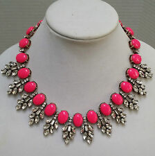 Crystal Leaves Necklace J Crew Hot Pink