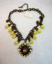 NWT Yosca Statement Crystal Necklace Pendant Runway Chunky Ren Faire Baroque