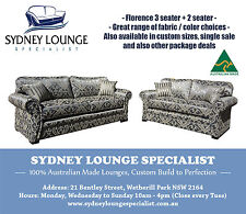 AUSTRALIAN MADE New Florence (Chateau Pewter) 3 seater and 2 seater Sofa Couch