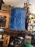 Vintage Mid Century MCM Blue Velvet Drum Lampshade w/gold Trim