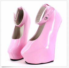 Women's Shiny Ankle Strap Pumps Hoof Sole Heelless High Heel Shoes Nightclub