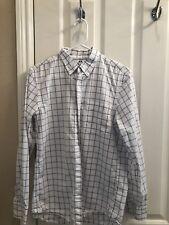 Men's UNIQLO White w/ Gray & Blue Square Pattern Long Sleeve Oxford Shirt Small