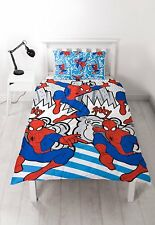 SINGLE BED DUVET COVER SET MARVEL COMICS SPIDER-MAN POPART REVERSIBLE BLUE WHITE
