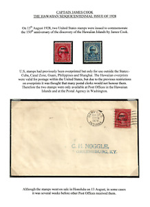 HAWAII 1928 SESQUICENTENNIAL SHIPS EXPLORERS MINT SET & USED ON ENVELOPE