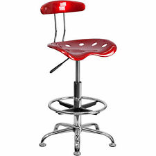 Drafting Stool Withtractor Seat Vibrant Wine Red Amp Chrome